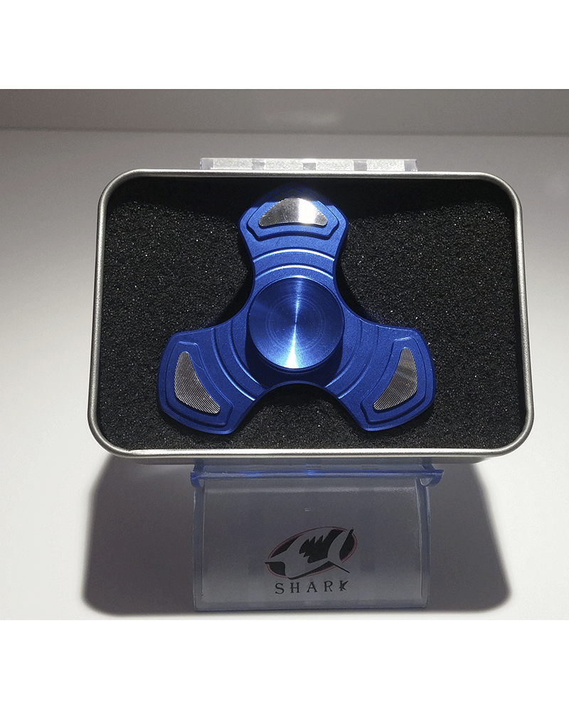 hand spinner  metal  triangular azul